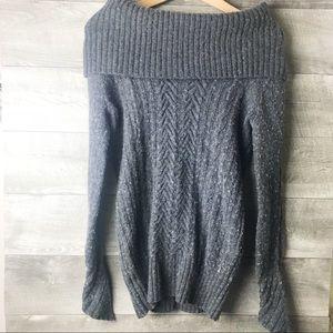 BCBG Maxazaris wool blend off shoulder sweater